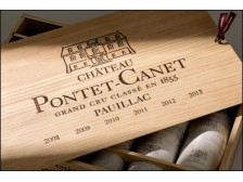 "Château PONTET-CANET Case ""Biodynamie de précision"" from 2008 to 2013 wooden case of 6 bottles 75cl"